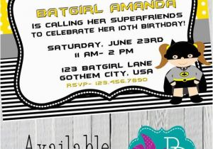 Batgirl Birthday Party Invitations Batgirl Birthday Invitation Printable 4×6 or 5×7