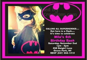 Batgirl Birthday Party Invitations Batgirl Superhero Invitations Birthday Party Ideas