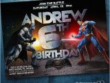 Batman Vs Superman Birthday Party Invitations Batman Vs Superman Birthday Invitation 2016 Invite