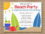 Beach themed First Birthday Invitations Beach Party Printable Blank Invitations