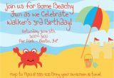 Beach themed First Birthday Invitations Beach themed Birthday Invitations Best Party Ideas