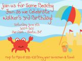 Beach themed First Birthday Invitations Beach themed Birthday Invitations Best Party Ideas