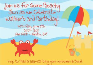 Beach Themed First Birthday Invitations Best Party Ideas