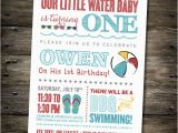 Beach themed First Birthday Invitations First Birthday Party Invitation Pool Party Beach theme You