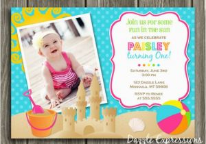 Beach Themed First Birthday Invitations Free 1st Templates Invitation