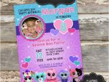 Beanie Boo Birthday Invitations Beanie Boo Custom Printable Photo Birthday Invitation