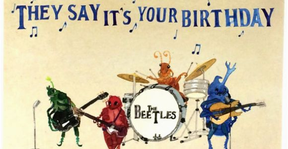 Beatles Birthday Card Musical Beatles Happy Birthday Postcards Beetles Bday Musical Oldies