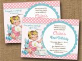 Bible Verse for 1st Birthday Invitations Baby 39 S First Birthday Invitation Vintage Baby Girl