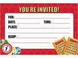 Bingo Birthday Invitations Bingo Party Invitations Envelopes 8 Pack Discount