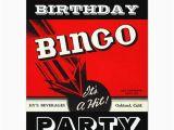 Bingo Birthday Invitations Retro Party Red Black White Bingo Invitations Zazzle Com