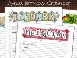 Birthday Card Calendar organizer My Computer is My Canvas Annual Birthday Calendar Card