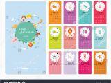Birthday Card Calendar organizer Unusual Calendar 2015 Cartoon Funny Animals Stock Vector