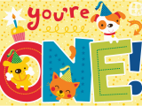 Birthday Card for 1 Year Old Boy Bora Illustraties Februari 2012