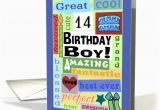 Birthday Card for 14 Year Old Boy Happy Birthday for 14 Year Old Boy Good Word Subway Art