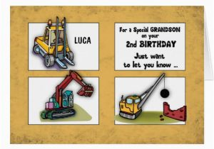 Birthday Card For 3 Year Old Grandson 2nd Personalize Name Trucks Zazzle