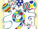 Birthday Card for 9 Year Old Boy 9 today Balloons Birthday Card Karenza Paperie