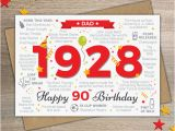 Birthday Card for 90 Year Old Man Happy 90th Birthday Dad Greetings Card Born In 1928 Year Of