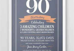 Birthday Card For 90 Year Old Man Personalized 90th Print Seventy Years Gift