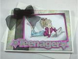 Birthday Card for A Teenage Girl Handmade Birthday Card Grungy Teenage Girl Folksy
