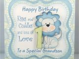 Birthday Card for Grandson 1st Birthday Grandson First Birthday Card Happy Birthday Wishes
