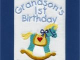 Birthday Card for Grandson 1st Birthday Handmade Personalised Embroidered Grandson 1st Birthday