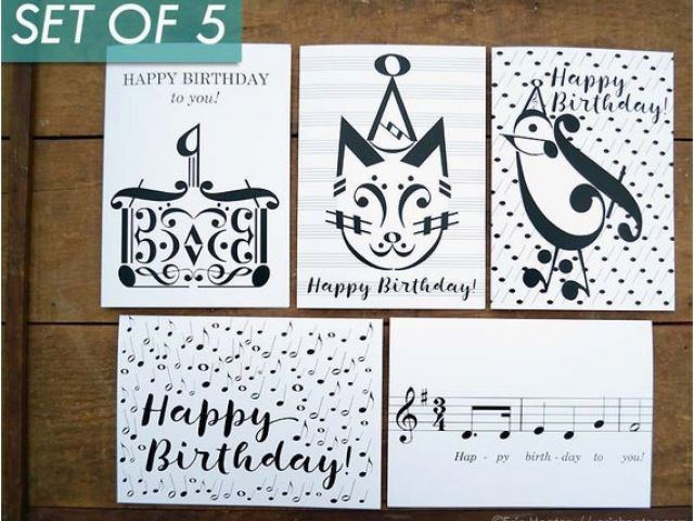 Birthday Card For Musician Music Cards Variety Pack Of 5