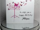 Birthday Card for Musician Musical butterflies Birthday Card