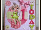 Birthday Card for One Year Old Baby Girl Items Similar to Handmade Greeting Card 1 Year Old Baby