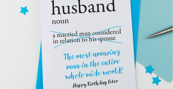 Birthday Card for Spouse Personalised Dictionary Birthday Card for Husband by A is