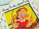Birthday Card for Young Lady Vintage Birthday Greeting Card Young Lady Little Girl Unused