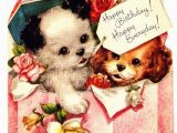 Birthday Card with Dogs Vintage Birthday Card Puppy Dogs