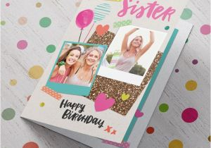 Birthday Card with Photo Upload Double Photo Upload Birthday Card Special Sister From 99p