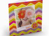 Birthday Card with Photo Upload Photo Upload Birthday Card Polaroid Zig Zags Pink