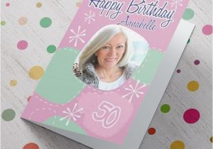Birthday Card with Photo Upload Photo Upload Card 50th Birthday Girl Personalised