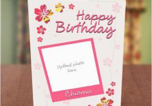 Birthday Card with Photo Upload Photo Upload Pink Petals Birthday Card Greetings World