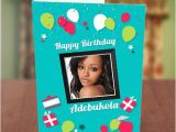 Birthday Card with Photo Upload Photo Upload Red White Balloons Birthday Card