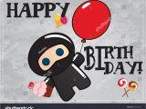 Birthday Cards Cartoon Character Happy Birthday Card Cute Cartoon Ninja Stock Vector