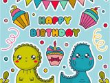 Birthday Cards Cartoon Character Happy Birthday Card with Kawaii Dinosaurs Cakes Bunting