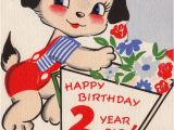 Birthday Cards for 2 Year Olds Vintage 1952 Unused Happy Birthday 2 Year Old Greetings Card