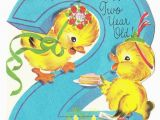 Birthday Cards for 2 Year Olds Vintage Baby Card Vintage Baby Ducks with Cake 2 Year
