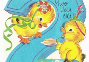 Birthday Cards For 2 Year Olds Vintage Baby Card Ducks With Cake