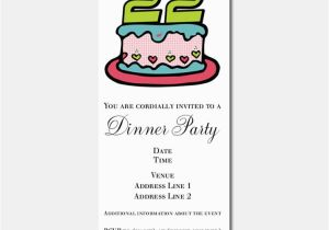 Birthday Cards For 22 Year Olds 22nd Party Stationery