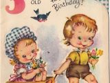 Birthday Cards for 3 Years Old Girl Vintage Greeting Card Children Boy Girl Age 3 Three Year