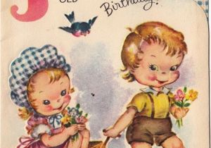 Birthday Cards For 3 Years Old Girl Vintage Greeting Card Children Boy Age Three