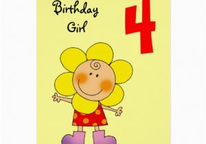 Birthday Cards For 4 Year Olds Old Girl Zazzle