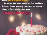 Birthday Cards for Brother with Name Candle Cake Birthday Wishes for Brother with Name