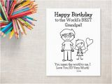 Birthday Cards for Grandpa From Granddaughter Birthday Coloring Printable Girl Grandpa Birthday Card to
