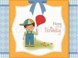 Birthday Cards for Little Boys Birthday Greeting Card with Little Boy Stock Vector