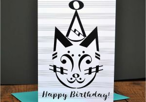 Birthday Cards For Musicians Music Card Party Cat Note