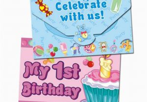 Birthday Cards For One Year Old Baby Boy 1st Invitation Card Little Girl Or